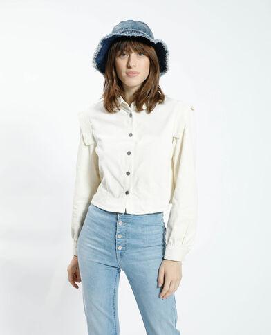 Camicia cropped in velluto bianco - Pimkie