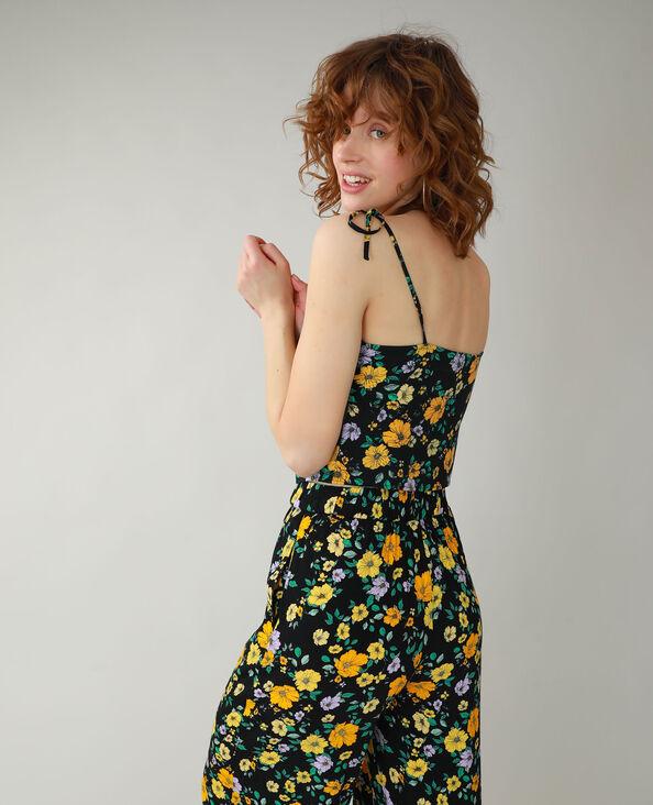 Top a fiori nero + giallo - Pimkie