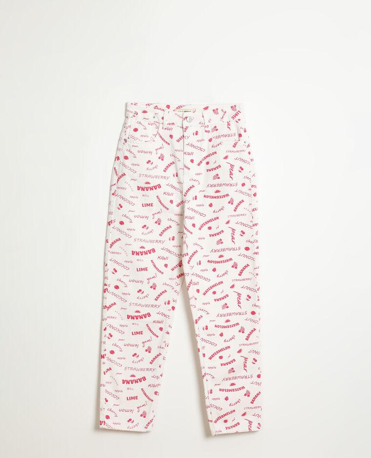Jeans straight high waist con messaggi bianco - Pimkie