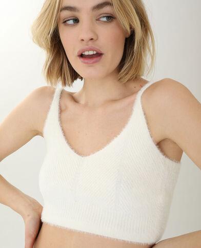 Brassière in maglia effetto pelo bianco sporco