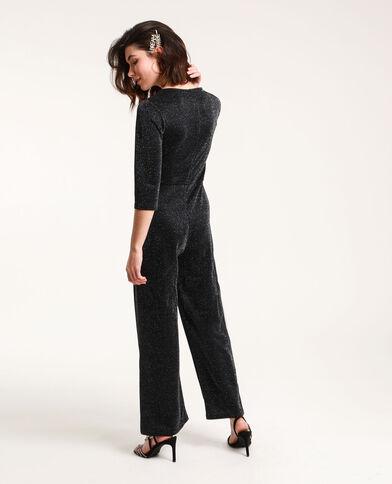 Abito pantalone con paillettes nero
