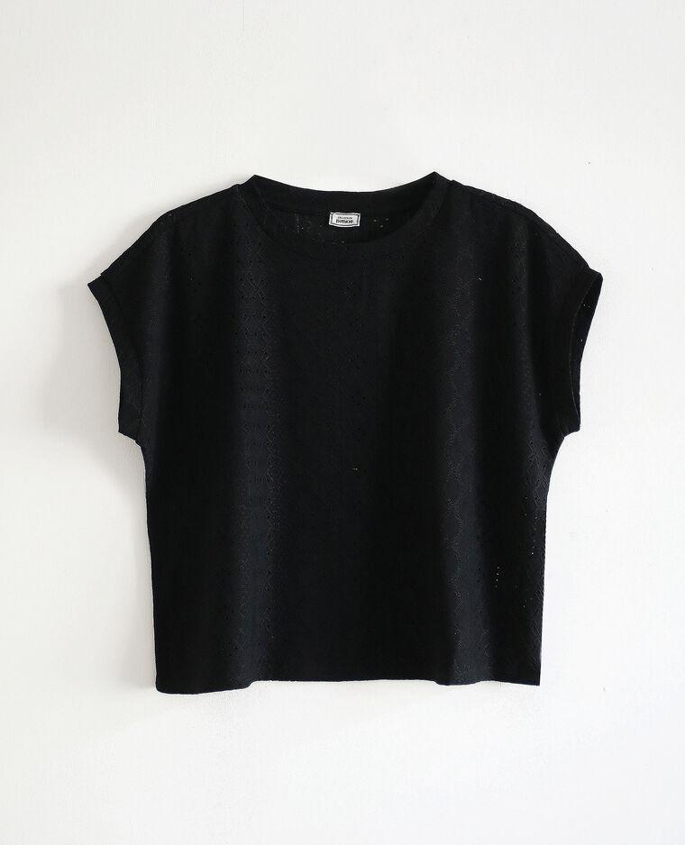 T-shirt con ricami nero - Pimkie