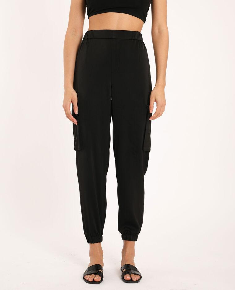 Pantalone cargo satinato nero