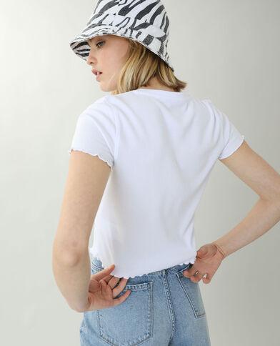 T-Shirt a coste con volant bianco - Pimkie