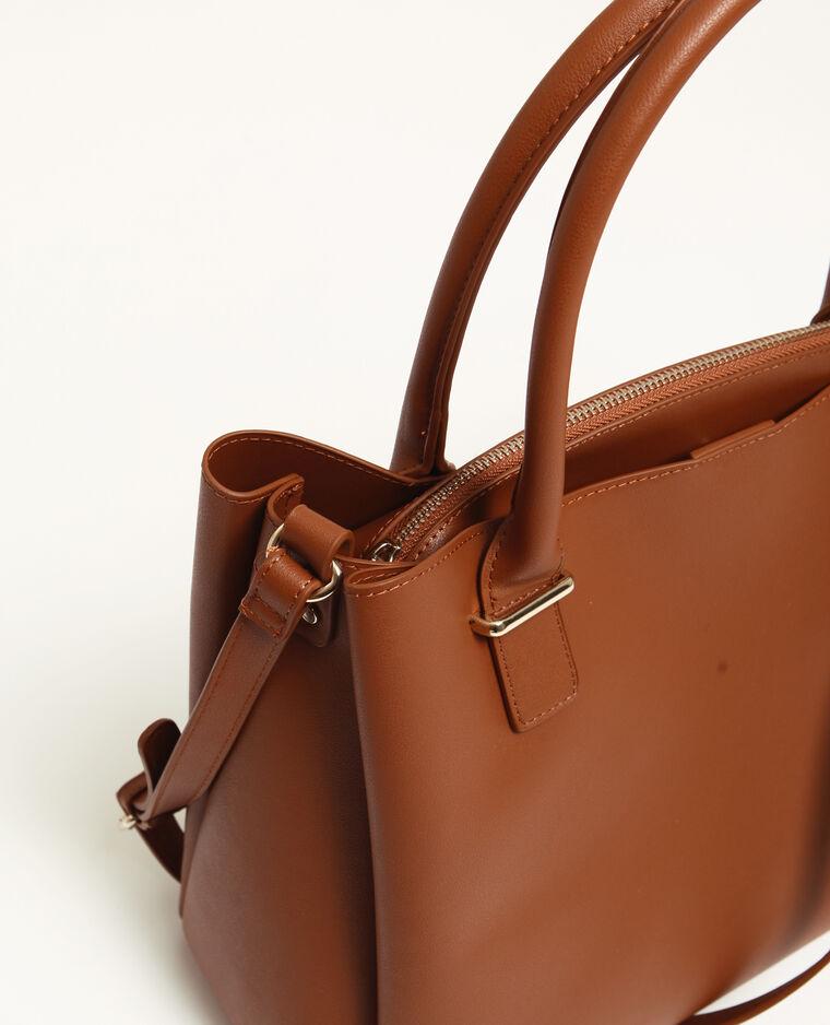 Grande borsa in finta pelle caramello
