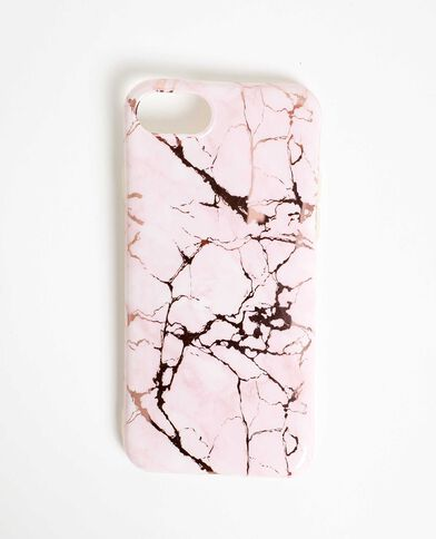 Custodia compatibile con iPhone effetto marmo rosa
