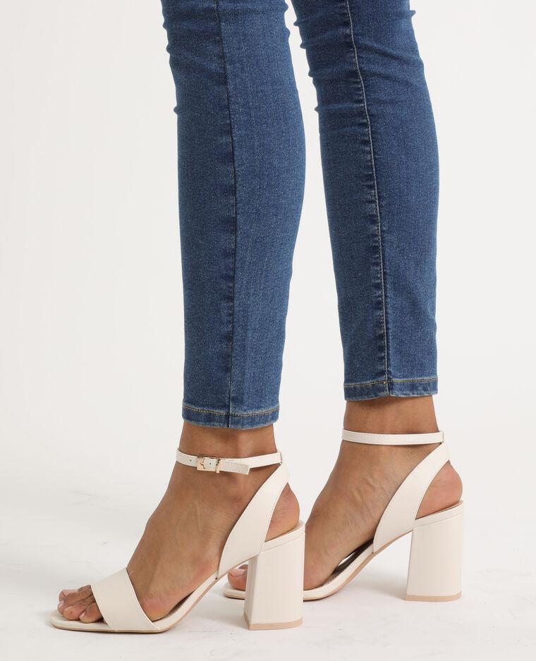 Sandali con tacco largo bianco sporco