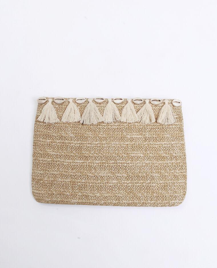 Pochette in paglia beige corda