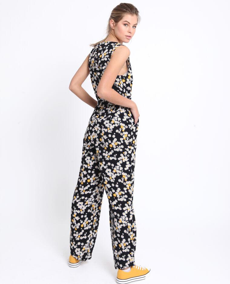 Abito pantalone a fiori nero