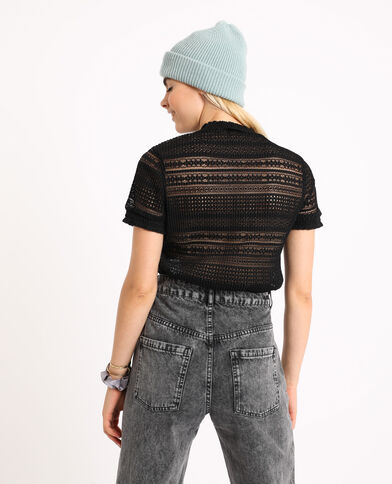 T-shirt traforata nero - Pimkie