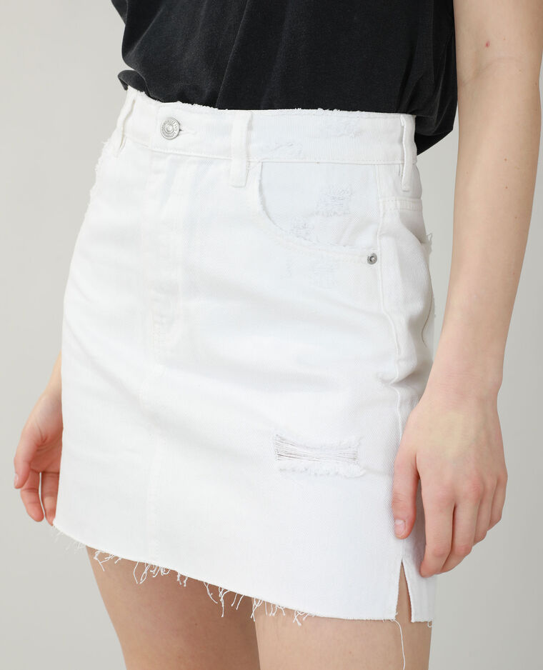 Gonna di jeans destroy écru - Pimkie