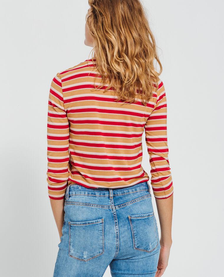 T-shirt a righe cammello