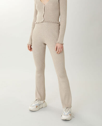 Pantalone flare in maglia beige - Pimkie