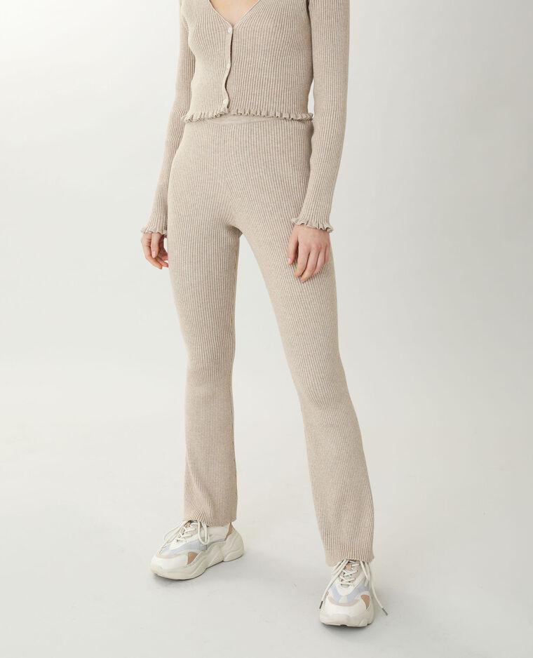 Pantalone bootcut in maglia beige