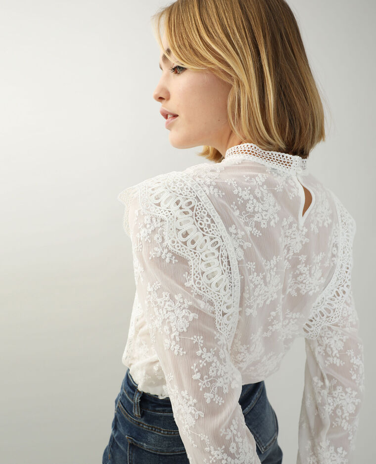 Blusa in pizzo bianco sporco