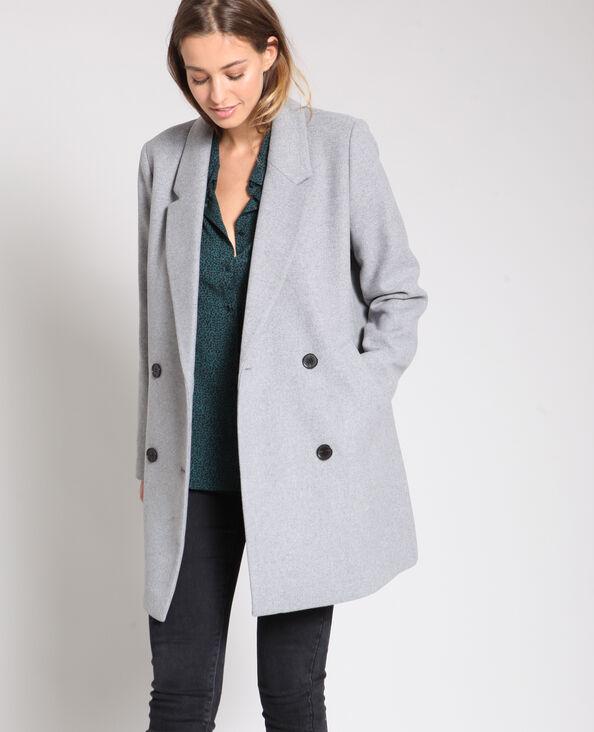 Cappotto in lana grigio chiné