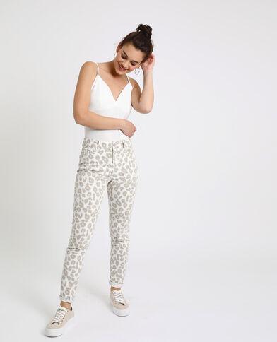 Pantalone skinny leopardato ecru