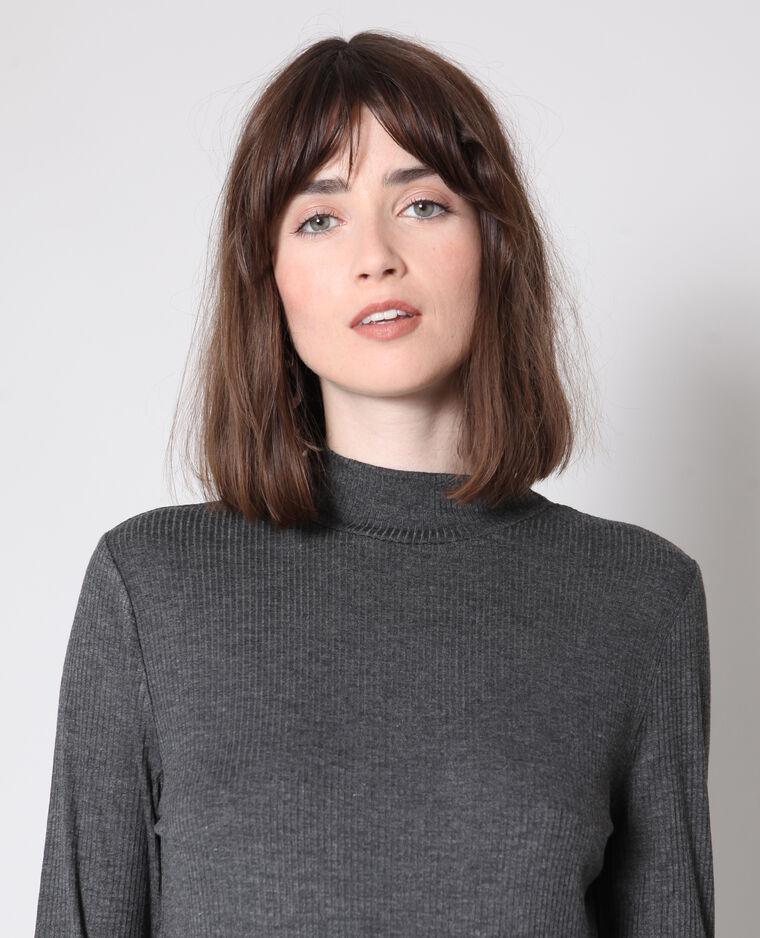 T-shirt con collo alto grigio