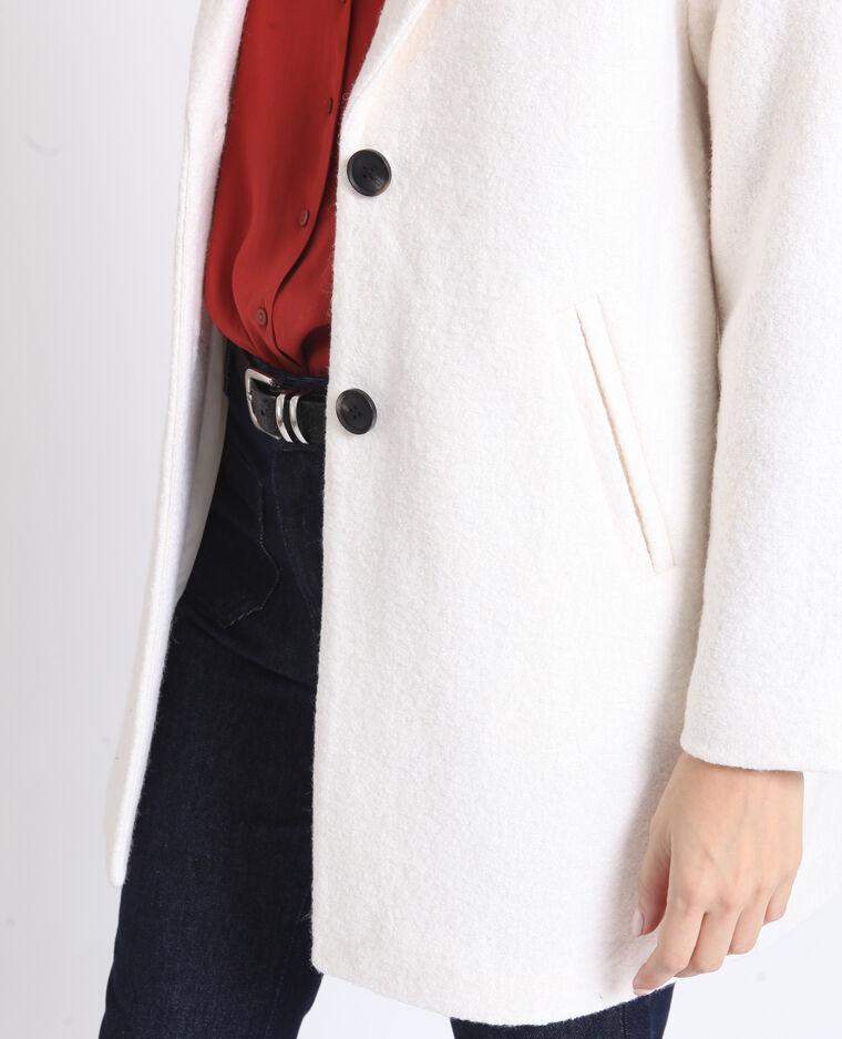 Cappotto dritto in lana bianco sporco