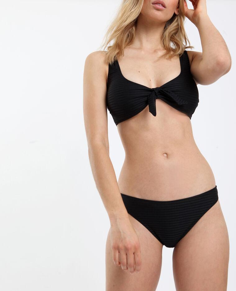 Pezzo sotto di bikini con texture nero