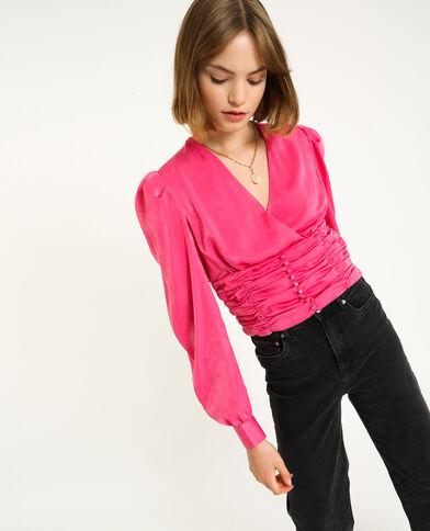 Top incrociato rosa fucsia