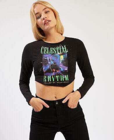 T-shirt cropped a maniche lunghe nero - Pimkie