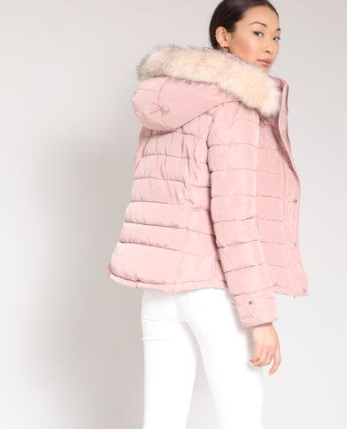 Piumino con cappuccio rosa antico