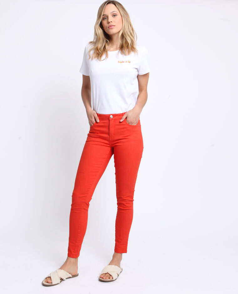 Pantalone push up mid waist arancio