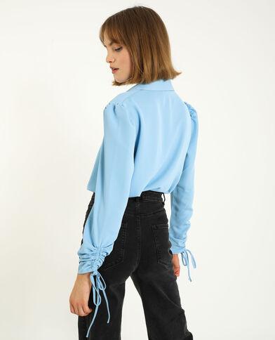 Camicia con maniche risvoltabili blu cielo