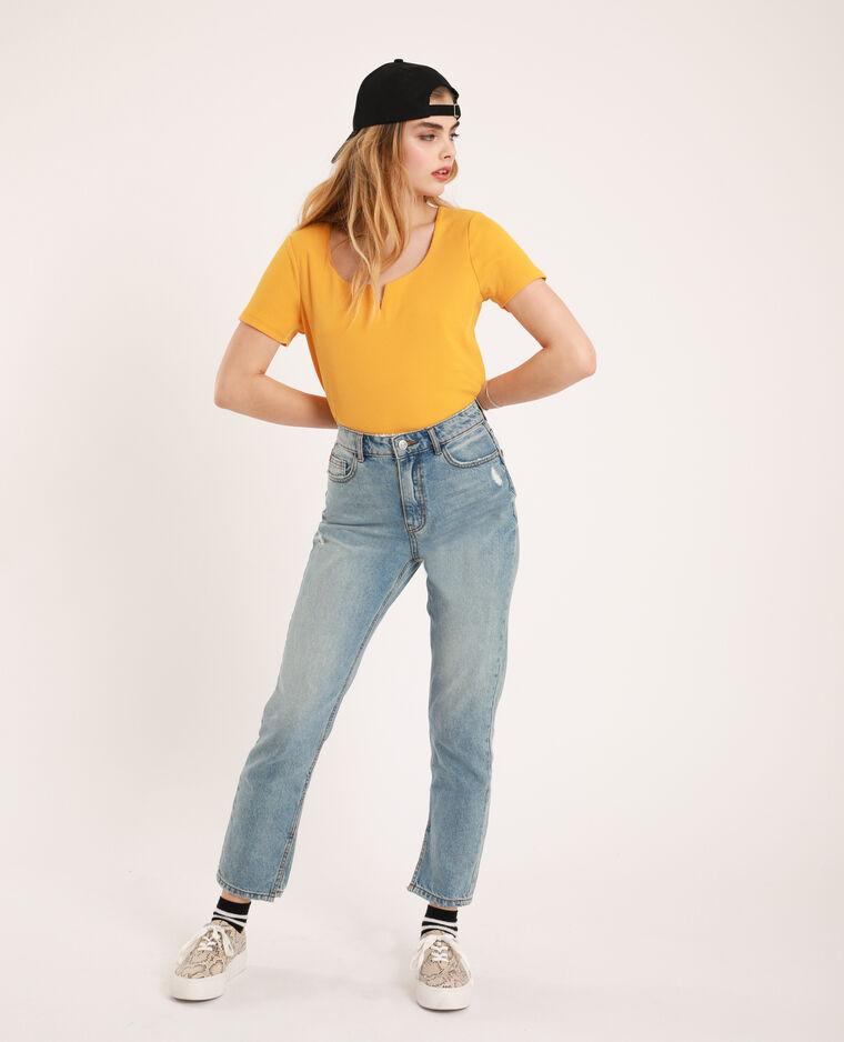 T-shirt con scollatura a V giallo - Pimkie