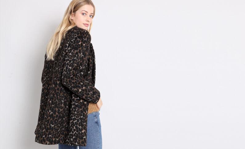 Cappotto leopardato nero