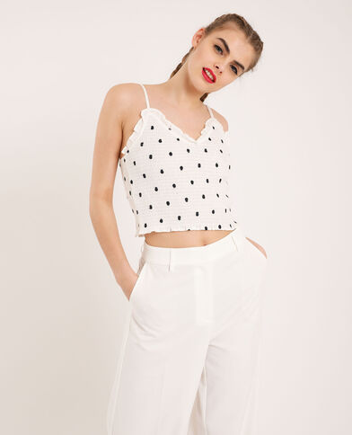 Top cropped a pois bianco