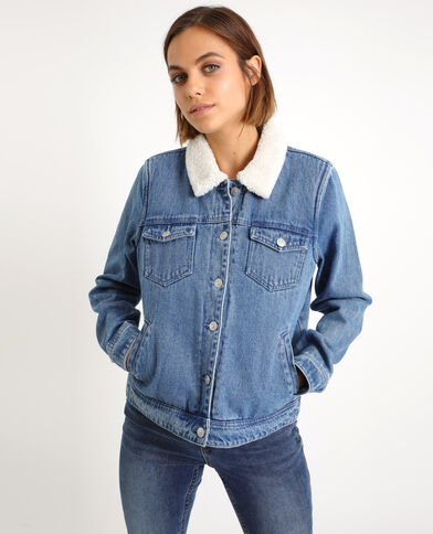 Giacca in jeans foderata blu denim