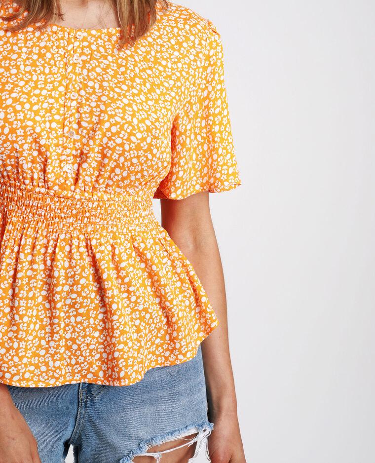 Camicia con smock a fiori arancio