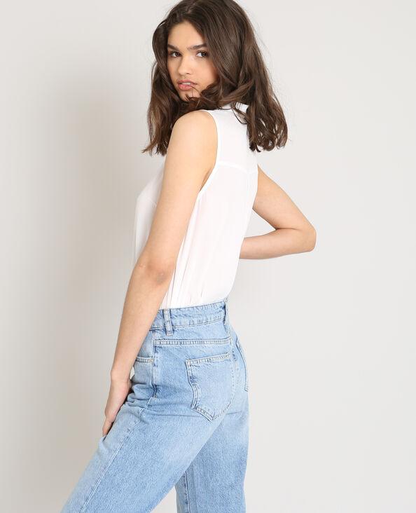 Camicia senza maniche bianco sporco