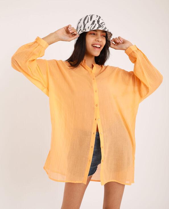 Camicia con collo alla coreana arancio