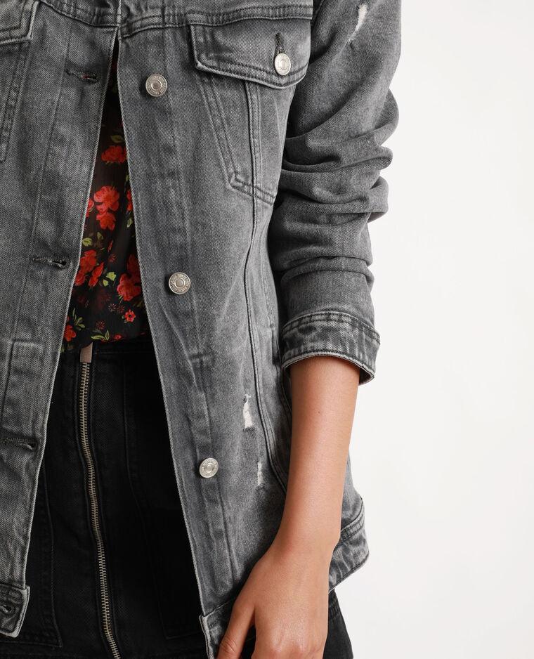 Giacca in jeans lunga grigio perla