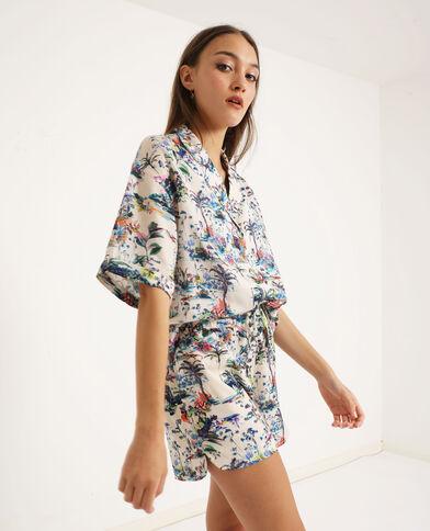 Camicia con stampa tropicale beige