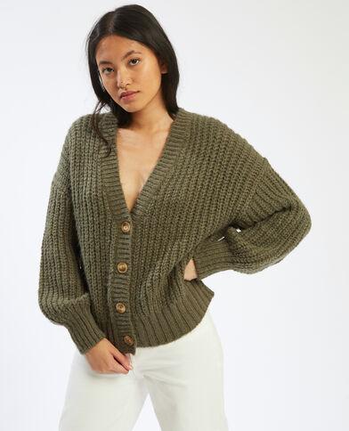 Cardigan in maglia spessa verde - Pimkie