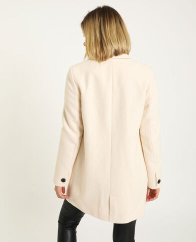 Cappotto dritto in panno di lana beige