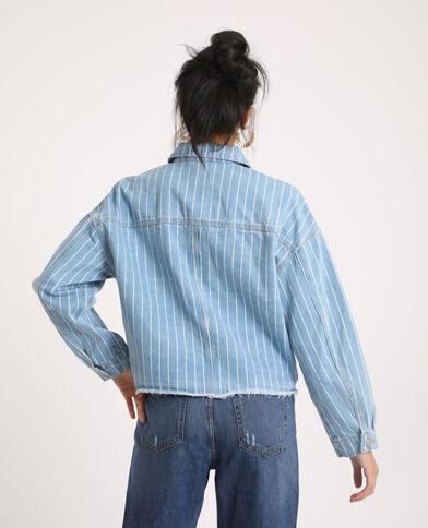 Giacca di jeans a righe blu chiaro