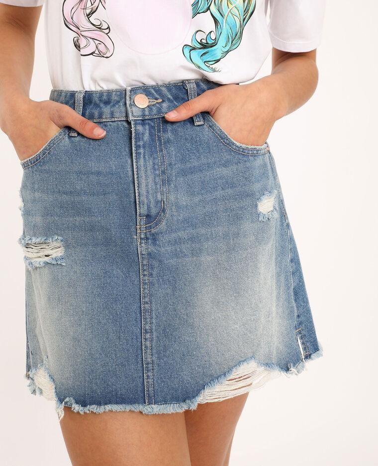 Gonna in jeans destroy blu denim - Pimkie