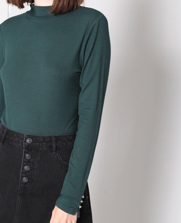 T-shirt con collo alto verde