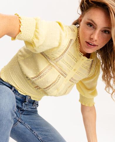 Camicia in pizzo e plumetis giallo