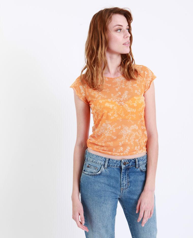 T-shirt a fiori trasparente giallo