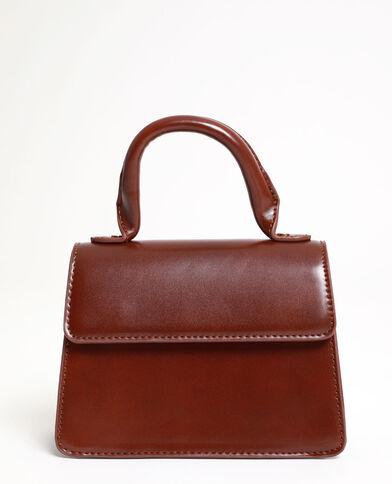 Mini borsa in similpelle marrone