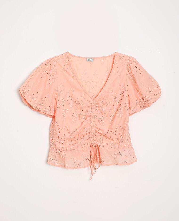 Top corto ricamato rosa