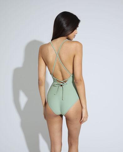 Costume da bagno intero a schiena scoperta con allacciatura verde - Pimkie