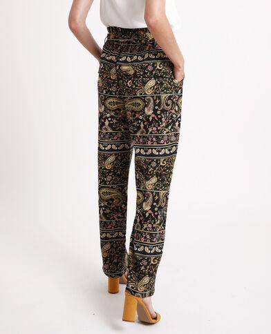 Pantalone largo stampato nero