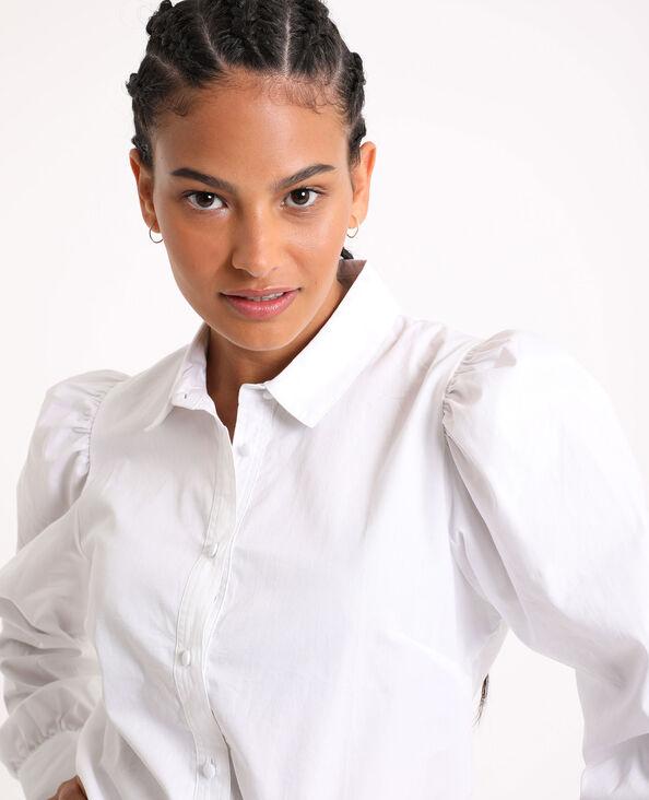 Camicia con maniche a sbuffo bianco